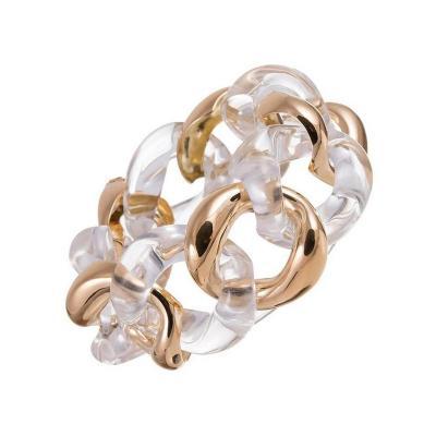 Seaman Schepps Seaman Schepps Rock Crystal Gold Large Link Bracelet