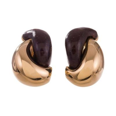 Seaman Schepps Seaman Schepps Rosewood Gold Large Half Link Earrings