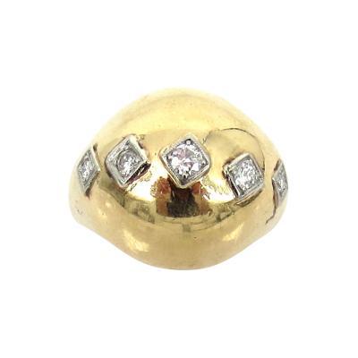 Seaman Schepps VINTAGE SEAMAN SCHEPPS 14KT GOLD DIAMOND DOME RING