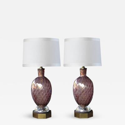 Seguso A Good Quality Pair of Murano Seguso Mid Century Aubergine Glass Lamps