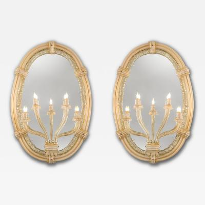 Seguso A Large Pair of Murano Glass Mirror Sconces