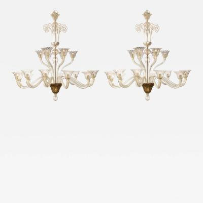 Seguso A Pair of Monumental 18 Light Murano Glass Chandeliers