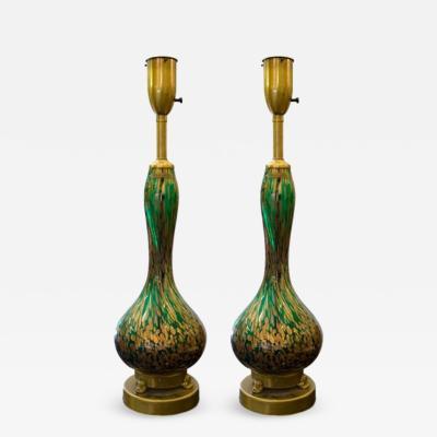 Seguso Beautiful Pair of Emerald Green and Goldstone Murano Lamps by Seguso