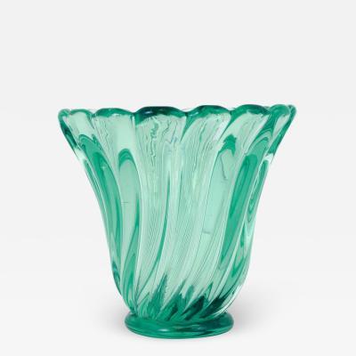 Seguso Emerald Green Glass Vase by Seguso c 1950