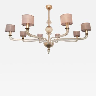 Seguso Extra Large Murano Clear Glass Chandelier Mid Century Modern by Seguso