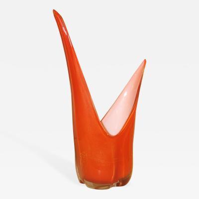 Seguso Large Hand Blown Assymetrical Vase Attributed to Seguso