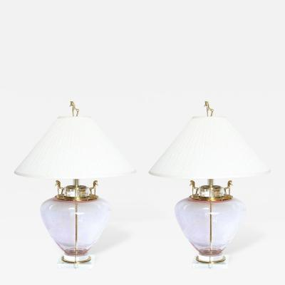 Seguso Large Italian Champagne Colored Seguso Glass Lamps with Horse Motif