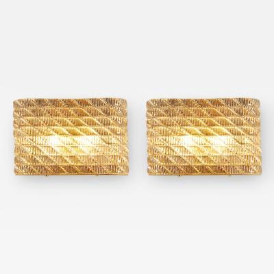 Seguso Large pair of Italian 50s Seguso Murano rectangular glass and brass wall lights