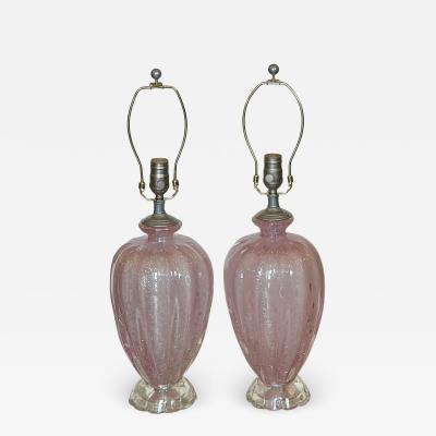 Seguso Mid Century Modern Seguso Murano Italian Art Glass Table Lamps