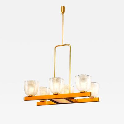 Seguso Modernist Murano Chandelier with Pulegoso Glass Shades Italy 1950s