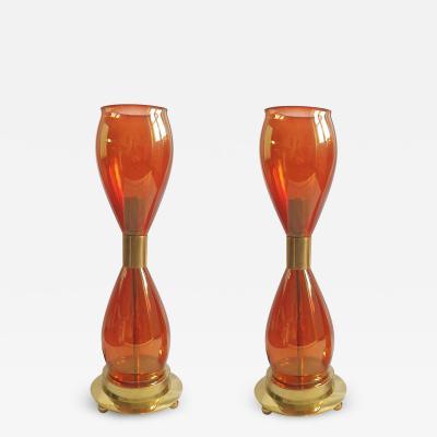 Seguso Orange Murano glass brass lamps Mid Century modern Italy 1970s attr Seguso