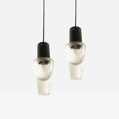 Seguso Pair of Bubble Glass Pendants by Seguso