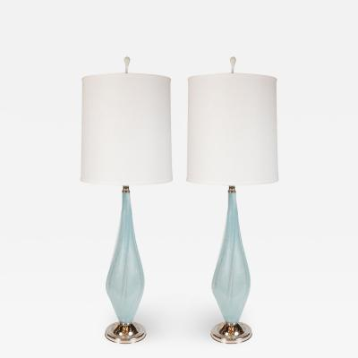 Seguso Pair of Light Blue Murano Table Lamps with Chrome Fittings by Seguso