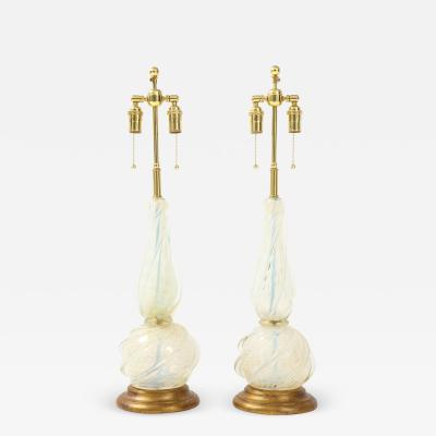 Seguso Pair of Opalescent Murano Glass Lamps by Seguso