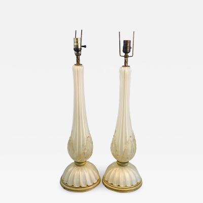 Seguso Pair of Seguso Handblown Glass Murano Lamps