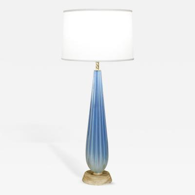 Seguso Seguso Blue Channeled Glass Table Lamp 1950s