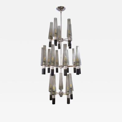 Seguso Seguso Exceptional Large Chandelier In Chrome And Smoked Glass Shades 1990s