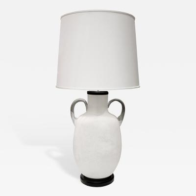 Seguso Seguso Large White Scavo Glass Table Lamp 1960s