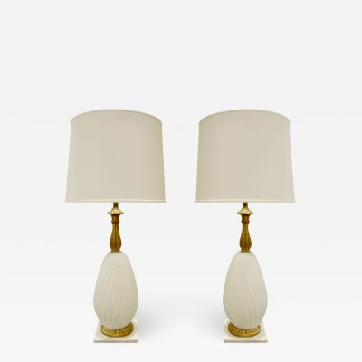 Seguso Seguso Pair of Gilded Hand Blown Glass Table Lamps 1950s