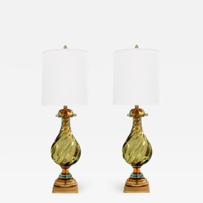 Seguso Seguso Pair of Handblown Glass Sommerso Table Lamps 1960s Signed