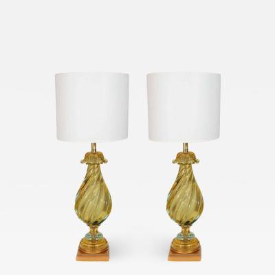 Seguso Seguso Peridot Murano Glass Lamps