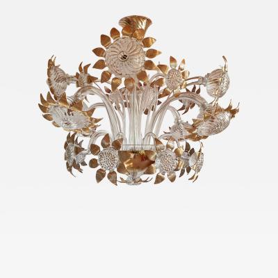 Seguso Sunflower Vintage Murano Glass Chandelier Mid Century Modern Seguso style 1970