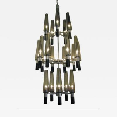 Seguso Three Tier Nickel and Smoke Glass Chandelier