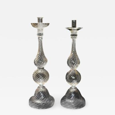 Seguso Two Tall Signed Seguso Handblown Glass Candlesticks