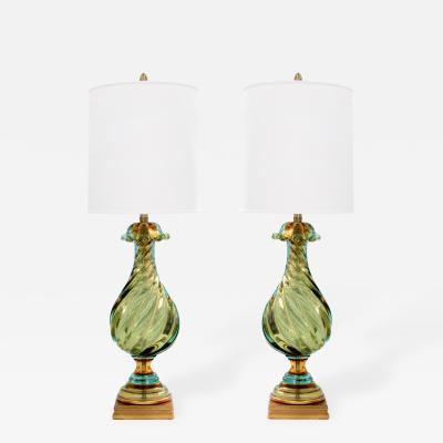 Seguso Vetri dArte Pair of Exceptional Green and Blue Glass Sommerso Table Lamps by Seguso