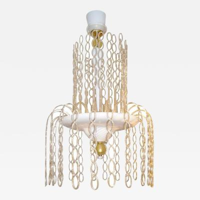 Seguso Vetri dArte Seguso Vetri DArte 1970 Italian Gold White Murano Glass Fountain Chandelier