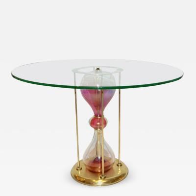 Seguso Vetri dArte Seguso Vetri dArte 1960s Italian Brass and Pink Glass Round Side End Table