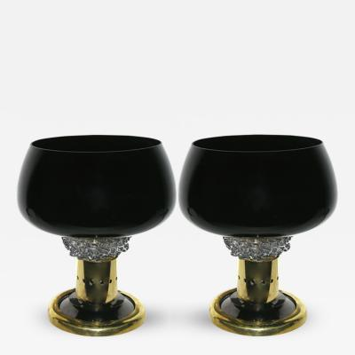 Seguso Vetri dArte Seguso Vetri dArte Grand Pair of Black Murano Glass and Bronze Lamps