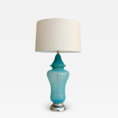 Seguso Vintage Hollywood Regency Turquoise Quilted Murano Glass Table Lamp