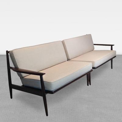 Selig Furniture Co Danish Modern for Selig Walnut Two Piece Sofa