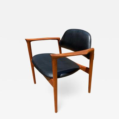 Selig Furniture Co IB Kofod Larsen Writing Chair in Teak with Leather Upholstery