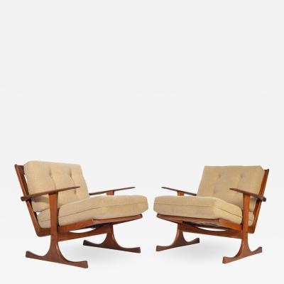 Selig Furniture Co Ib Kofod Larsen for Selig Denmark Lounge Chairs in Teak
