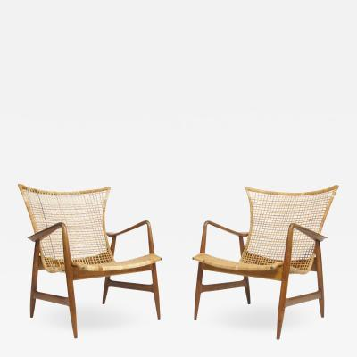 Selig Furniture Co Ib Kofoed Larsen for Selig Cane Lounge Chairs