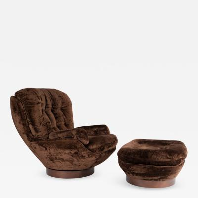Selig Furniture Co Shapely Selig Lounge Chair and Ottoman circa 1970s