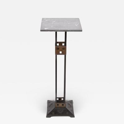 Serrurier Bovy Gustave Serrurier Bovy Style Iron Brass and Marble Pedestal circa 1910