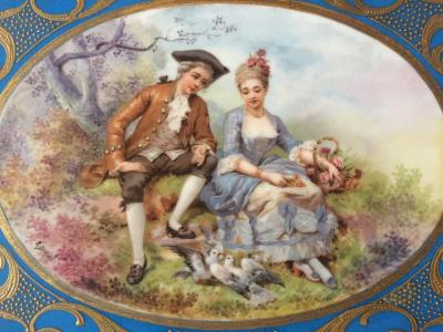 Sevres 19th Century Unmarked Sevres Hand Painted Porcelain Plaque Hand Carved Frame