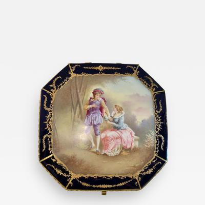 Sevres Manufacture Nationale de S vres 19th Century French Sevres Cobalt Porcelain and Gilt Bronze Casket Jewelry Box