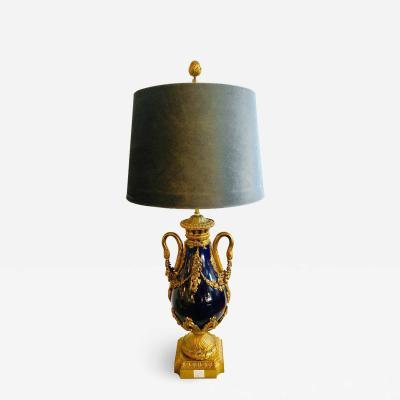 Sevres Manufacture Nationale de S vres Sevres Style Cobalt Blue Porcelain Bronze Swan Handle Urn Mounted as a Lamp