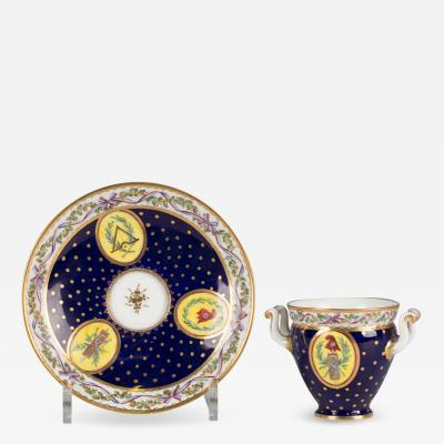 Sevres Manufacture Nationale de S vres Two handled cup and saucer gobelet bandeau et soucoupe