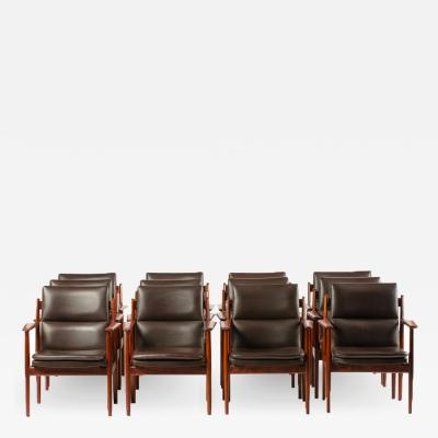 Sibast Furniture Co A set of twelve Mid Century Danish rosewood chairs with leather upholstery