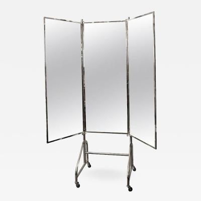 Siegel Paris Vintage French Stamped Siegel Tri Panel Standing Mirror