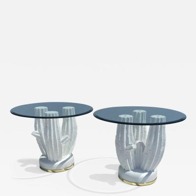 Sirmos Pair of Plaster Cactus Side End Tables