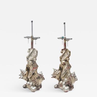 Sirmos Pair of Silver Seashell Table Lamps