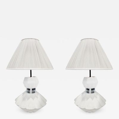 Sirmos Pair of Table Lamps in Wood Grain Plaster with Lucite 1970s