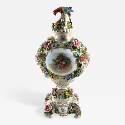 Sitzendorf Porcelain Manufactory 1901 Sitzendorf Porcelain Vase with Parrot Finial Germany