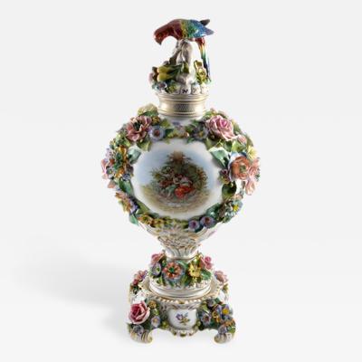 Sitzendorf Porcelain Manufactory 1901 Sitzendorf Porcelain Vase with Parrot Finial Germany
